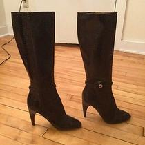 Sam Edelman Reptile Snakeskin Brown Leather Knee High Boots Size 9.5 New Photo