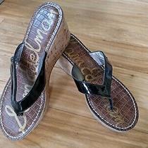 Sam Edelman Romy Black Patent Leather Cork Wedge Thong Sandals Womens Sz 8.5m... Photo