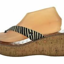 Sam Edelman Romy Womens Shoes Size 10 M 42 Brown Ivory Flip Flop Wedge Sandals Photo