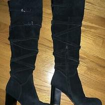 Sam Edelman Sable Over the Knee Boot Black Suede Size 8.5 Excellent Condition Photo
