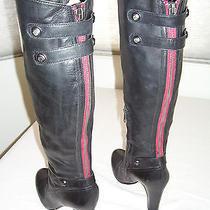 Sam Edelman Sanford Black Leather Corset Knee Boots Contrast Red Zipper Sz 7.5 Photo