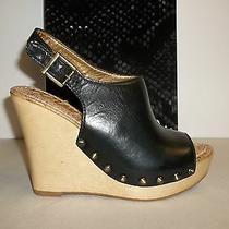 Sam Edelman Size 10 M Camilla Black Leather Wedge Heel Sandals New Womens Shoes Photo