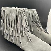 Sam Edelman Ursula Women's Fringed Booties Boots Size 8.5 Suede Gray Flat Photo