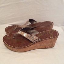 Sam Edelman Wedge Flip Flop Sandals Size 9.5 Light Gold Metallic New Photo