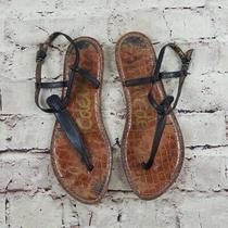 Sam Edelman Women 7 Gigi Sandals Shoes Black Leather T Strap Thong Flats Boho Photo