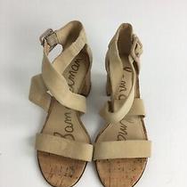 Sam Edelman Womens Block Heels Sandals Sz 6.5 M Taupe Beige  Suede Cork Photo