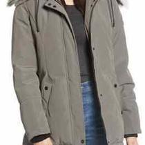 Sam Edelman Womens Faux Fur Trim Short Parka Coat Hood Gray Medium Nwt  Photo