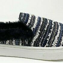 Sam Edelman Women's Lois Navy Striped Boucle Slip Sneakers Faux Fur Size 10 Photo