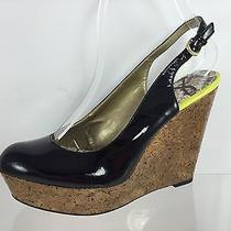 Sam Edelman Womens Black Leather Wedges 8 M Photo