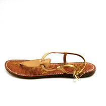 Sam Edelman Womens Gigi T-Strap Thong Sandals Leather Tan Sz 9m Photo