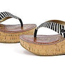 Sam Edelman Womens Romy Platform Thong Wedge Shoes Black Ivory Zebra 8 New Photo