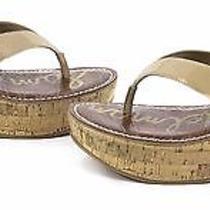 Sam Edelman Womens Romy Platform Thong Wedge Shoes Classic Nude Patent 6 New Photo