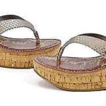 Sam Edelman Womens Romy Platform Thong Wedge Shoes Light Gold Metallic 6 New Photo