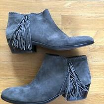 Sam Edelman Womens Size 10 Gray Suede Paige Fringed Ankle Bootie Great Condition Photo
