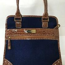 Samantha Brown Travel Overnight Tote Bag Luggage Purple Embossed Croc Print  Photo