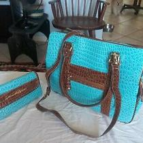 Samantha Turquoise Blue Soft Briefcase Croc Embossed Tote Bag W Makeup Bag Photo