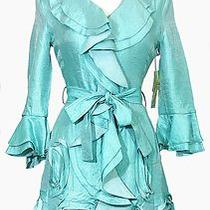 Samuel Dong Jacket Nwt Size Small Aqua Blue Rain Trench Coat Belted Ruffle Front Photo