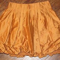 San & Soni Anthropologie Womens Pleated Bubble Skirt Cotton Silk Sz 6 Gold  Photo