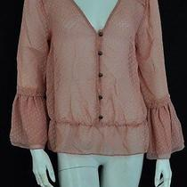 Sanctuary 100% Polyester Pink Sheer Button Up Long Sleeve Blouse Top Womens Sz M Photo