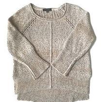 Sanctuary Anthropologie Crochet Knit Sweater Brown Sz Xs Marled Hi Low Hem Photo