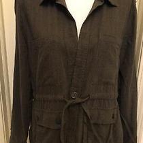 Sanctuary Anthropologie Lightweight Linen Jacket Coat Utility Safari Brown Large Photo