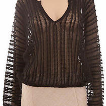 Sanctuary Black v-Neck See Through Crochet Top Blouse S Photo