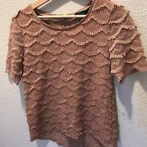 Sanctuary Blush Pink Fringe Short Sleeve Top Size Medium Photo