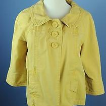 Sanctuary Clothing Anthropologie Lg Canary Yellow Jacket Retro Blazer Linen Photo