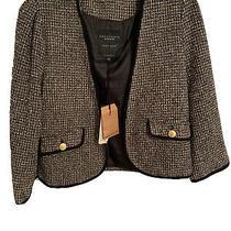 Sanctuary Clothing Anthropology Short Crop Blazer Jacket Black White Gray Sz L Photo