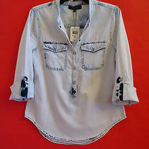 Sanctuary Clothing  Light Wash  Roll Up Sleeve  Blouse  Top  Shirt  Size  Xs Photo