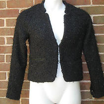 Sanctuary Couture Inspired Boucle Tweed Jacket S Black Sparkle Blazer Small Photo