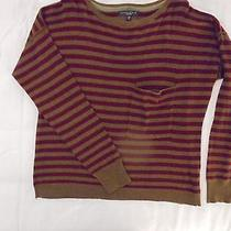 Sanctuary Gray and Maroon Striped Long-Sleeved Boatneck Slouch Sweater  S Small Photo