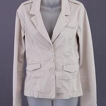 Sanctuary Tan Button Down Blazer Jacket Pockets Pleats S Photo