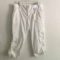 Sanctuary Womens Embroidered White Cargo Pants Capris Size 32 109 Photo