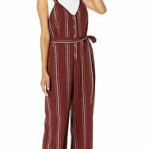 Sanctuary Women's Jumpsuit Brick Red Size Medium M Button Front Stipe 149 656 Photo