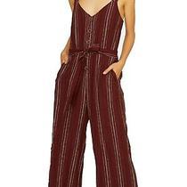Sanctuary Women's Jumpsuit Brick Red Size Medium M Button Front Stiped 149 093 Photo