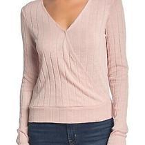 Sanctuary Women's Top Blush Pink Size Xs Knit Surplice Ribbed v-Neck 59 577 Photo
