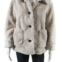 Sanctuary Womens Faux Fur Collared Button Up Long Sleeve Coat Beige Size Small Photo