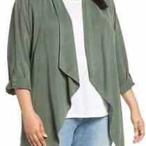 Sanctuary Womens Jacket Green Size 2x Plus Belted Waterfall Flyaway 129 432 Photo