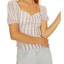 Sanctuary Womens Knit Top Blue Size Medium M Stripe Print Puff Sleeve 79 117 Photo