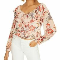 Sanctuary Womens Lady Like Blouse Pink Small S Floral Ruffle-Trim v-Neck 89 010 Photo