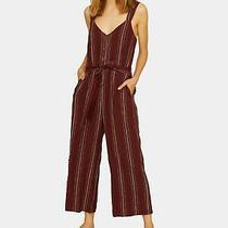 Sanctuary Womens Maroon Striped Sleeveless v Neck Wide Leg Jumpsuit Size S Photo
