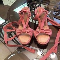 Sandy Pink Wrap Strap Sheepskin Ugg Wedge High Heel Slingback Sandal Shoes 10 Photo