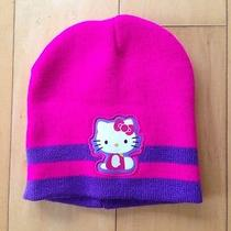 Sanrio Hello Kitty Fuscia Pink Stripe Girls Knit Hat Beanie Photo