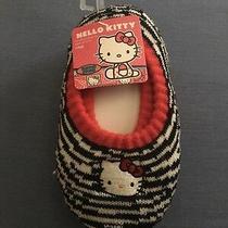 Sanrio Hello Kitty Girls Slippers Socks Logo White and Black Shoe Size 8-13 New Photo