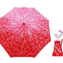 Sanrio Hello Kitty Kids Umbrella With 3d Hello Kitty Figurine Handle Red Photo