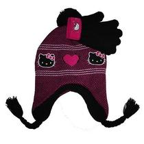 Sanrio Hello Kitty Laplander Beanie Knit Hat & Gloves Set Black Girl One Size Photo
