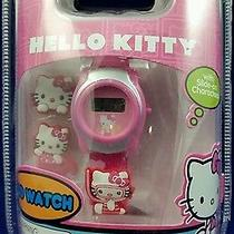 Sanrio Hello Kitty Lcd Digital Watch With Slide on Character New in Box Pink Photo