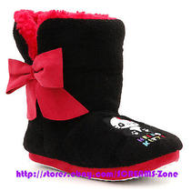 Sanrio Hello Kitty Panda Red Sherpa Black Plush Shoes Sock Slippers Indoor Boots Photo