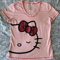 Sanrio Hello Kitty Pink Graphic Scoop Neck Pajama Short Sleeve T-Shirt Sz Small Photo